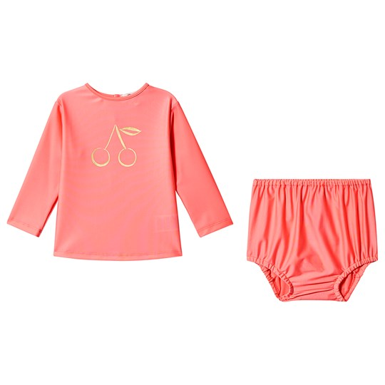 Bonpoint Pink Fluoro Rash Vest and Bloomers Set 122A