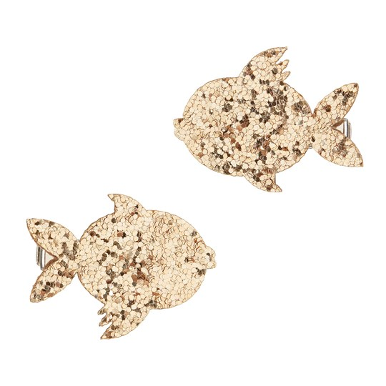 Mimi & Lula 2-Pack Glitter Fish Hair Clips Gold