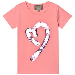 Creamie Sequin Heart T-Shirt Pink Icing