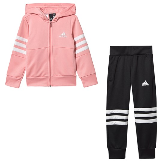 adidas Performance 3 Stripes Hoodie & Bottom Set Pink/Black Top:glory pink/white Bottom:BLACK/WHITE
