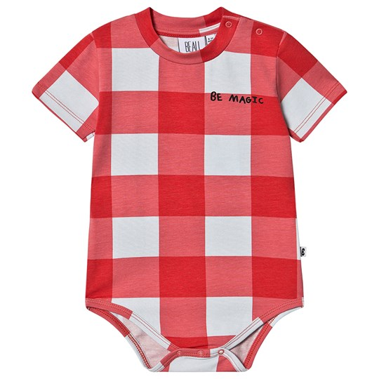 Beau Loves Gingham Baby Body Red and Sky Blue Red Gingham Sky Blue
