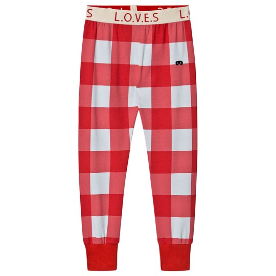 Beau Loves Gingham Sweatpants Red and Sky Blue Red Gingham Sky Blue with Jacquard Waist