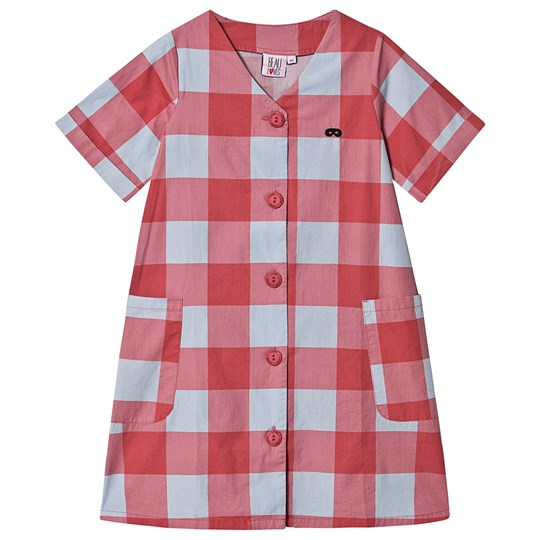 Beau Loves Gingham Button Dress Red and Sky Blue Red Gingham Sky Blue