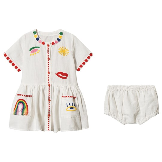 Stella McCartney Kids Embroidered Hearts Linen Dress with Bloomers White 9232