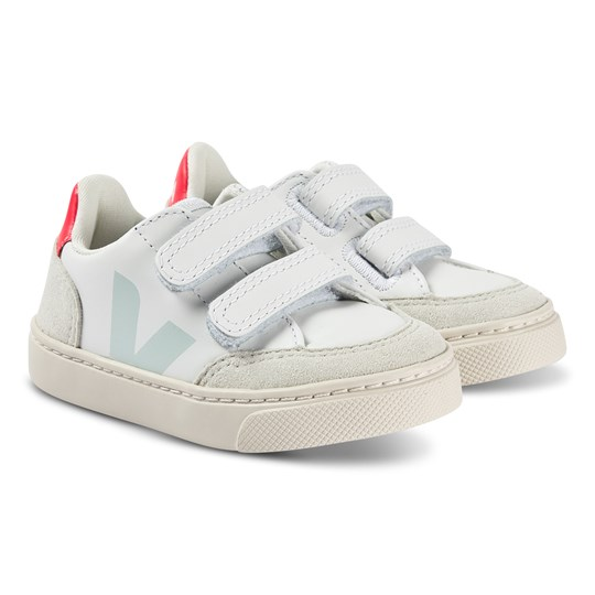 Veja V-12 Leather Sneakers Extra White and Menthol EXTRA WHITE MENTHOL ROSE FLUO