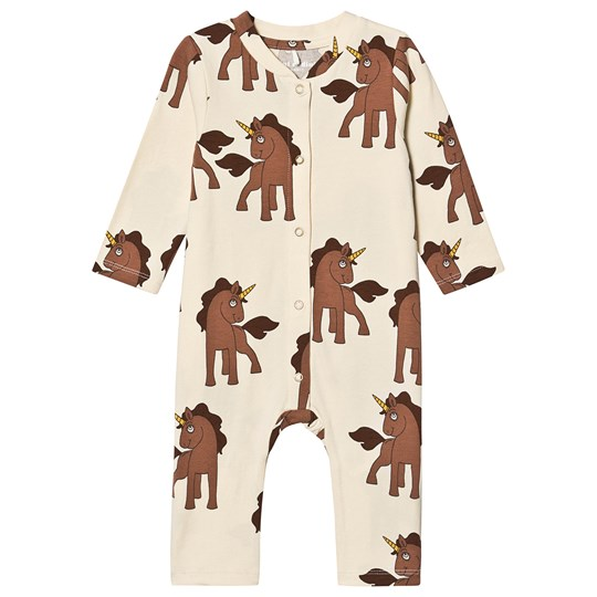 Mini Rodini Unicorns One-Piece Off White White