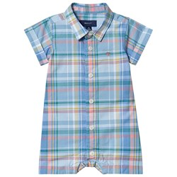 GANT Checked Romper with Small Shield Blue/Yellow