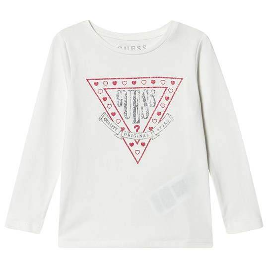Guess Glitter Branded Long Sleeve Tee White/Pink WCLY