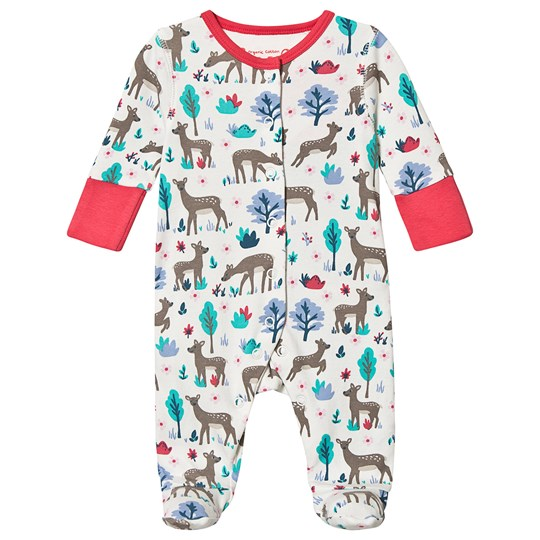 Frugi Floral Deer Footed Baby Body White Watermelon Sika Deer Ditsy