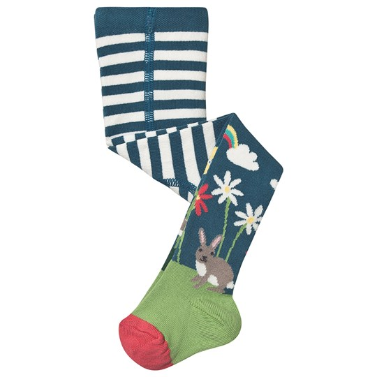 Frugi Floral Deer Tights Blue Steely Blue/Deer