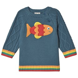 Frugi Fish Cable Knit Sweater Blue