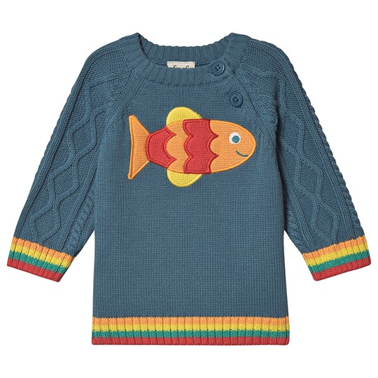 Frugi Fish Cable Knit Sweater Blue Steely Blue/Fish