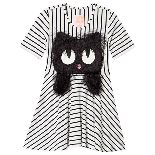 Wauw Capow Summer Swing Dress White Black and White stripes