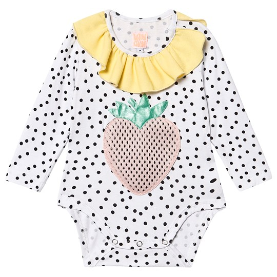 Wauw Capow Anna Berry Baby Body White White with black dots