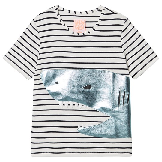 Wauw Capow Shark T-shirt Hvid Black and White stripes