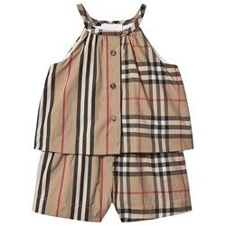Burberry Vintage Check Layered Baby Romper Archive Beige
