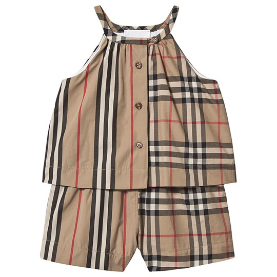 Burberry Vintage Check Layered Baby Romper Archive Beige A7029