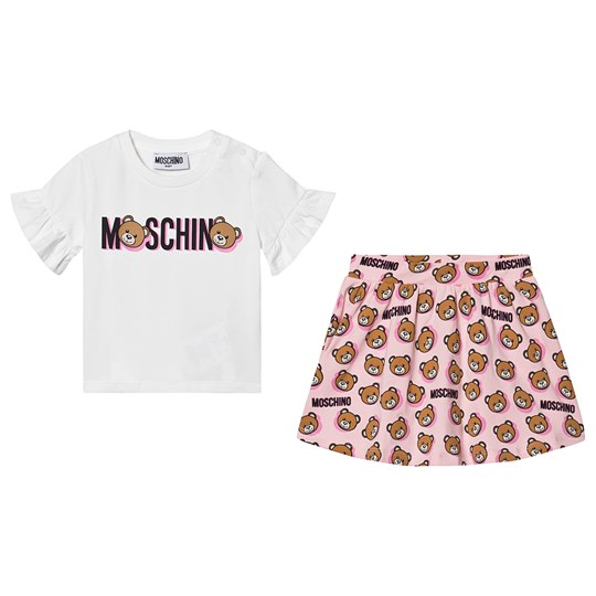 Moschino Kid-Teen Logo T-Shirt och Kjol Set Vit/Rosa 84913