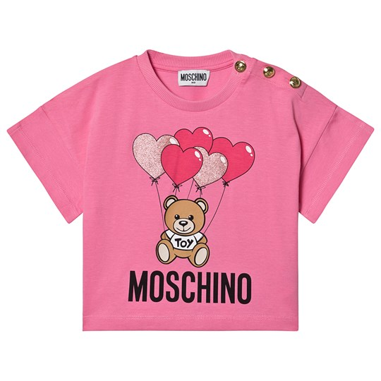 Moschino Kid-Teen Heart Balloons Cropped Tee Pink 51470