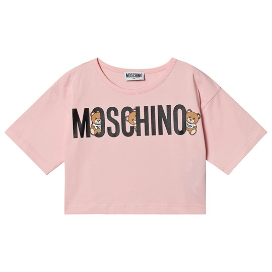 Moschino Kid-Teen Logo Cropped Tee Light Pink 50209