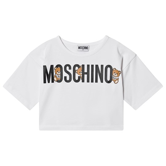 Moschino Kid-Teen Logo Cropped Tee White 10101