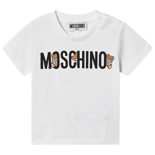 Moschino Kid-Teen Logo T-Shirt Vit 10101