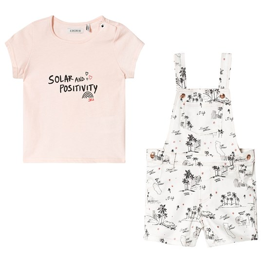 IKKS Sunset Tee and Overalls Set Pink 19