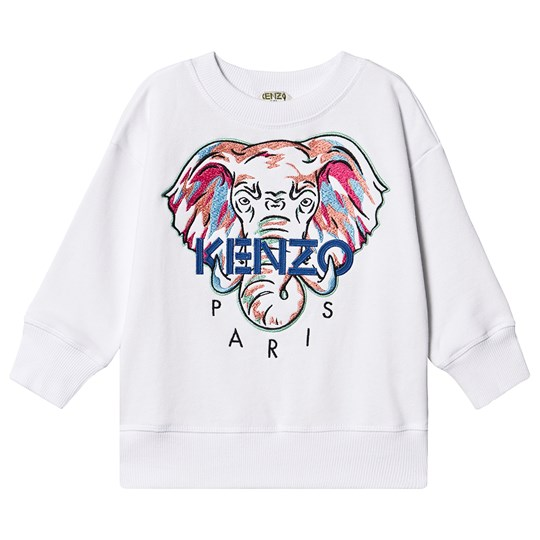 Kenzo Embroidered Elephant Logo Sweatshirt Optic White 01