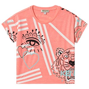 Kenzo Allover Logo T-shirt Neon Pink 12 years