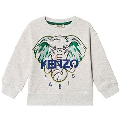 Kenzo Embroidered Elephant Logo Sweatshirt Light Marl Grey