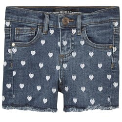 Guess All Over Heart Embroidered Frayed Denim Shorts Blue