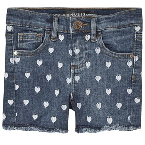 Image of Guess All Over Heart Broderet Frayed Denim Shorts Blå 4 years (1486780)