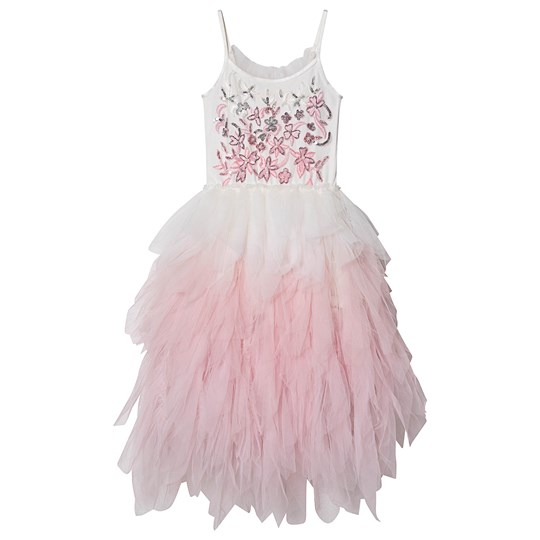 Tutu Du Monde Wild Rose Embellished Long Tulle Dress White/Pink Milk Mix