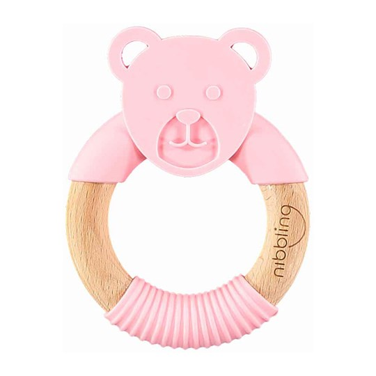Nibbling Bear Forest Friend Natural Teething Toy Pink Pink