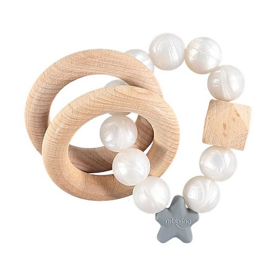 Nibbling Stellar Natural Teething Toy White Pearl