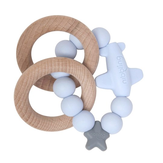 Nibbling Jet Natural Teething Toy Blue Blue
