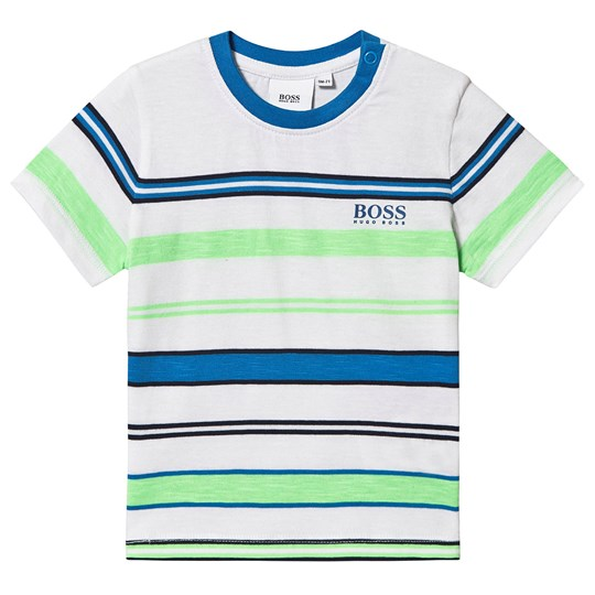 BOSS Striped Logo Baby Tee White/Green U58