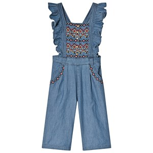 Image of Velveteen Chambray Broderet Jumpsuit Blå 10 years (1539502)