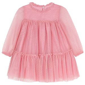 Image of Mayoral Polka Dot Long Sleeve Tulle Dress Pink 4 years (1558496)