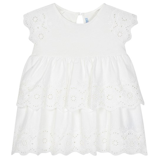 Mayoral Jersey Layered Embroidered Dress White 75