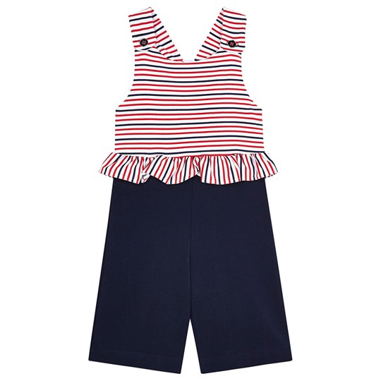 Mayoral Ruffle Waist Jersey Jumpsuit Red/White/Navy 10