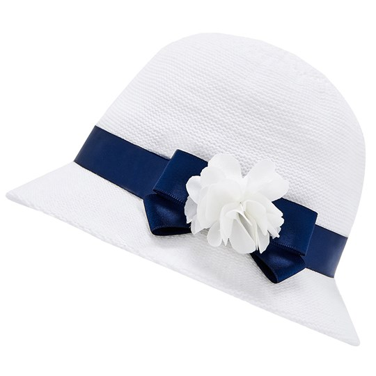 Mayoral Flower Ribbon Hat White/Navy 16