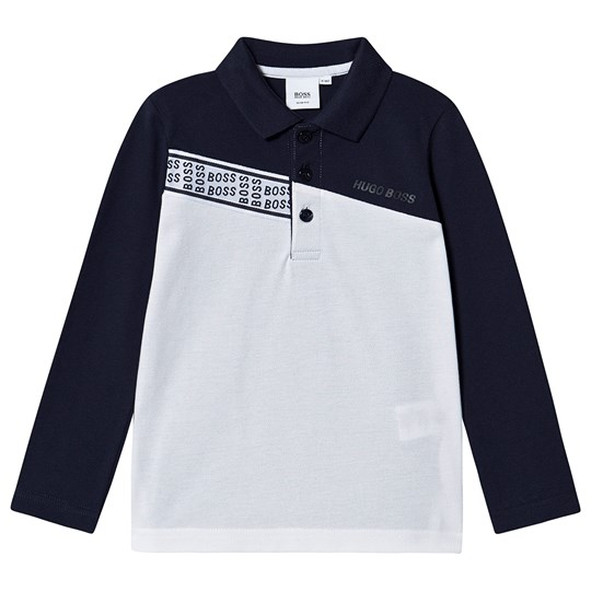 BOSS Logo Tape Long Sleeve Polo White/Navy N68