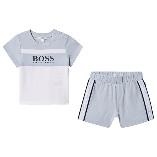 BOSS Logo Tee and Shorts Set Pale Blue/White 771