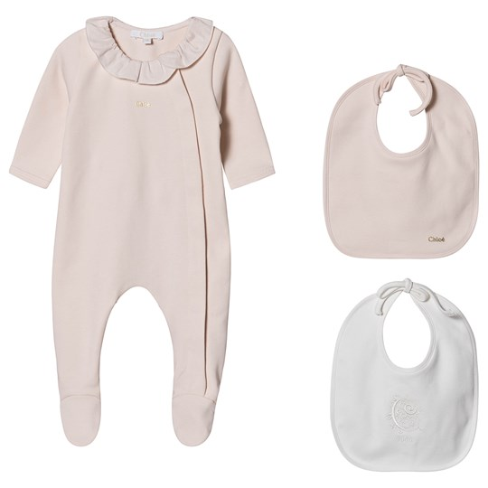 Chloé Footed Baby Body and Bibs Gift Set Pale Pink 440