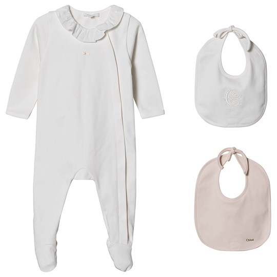 Chloé Footed Baby Body and Bibs Gift Set White 117