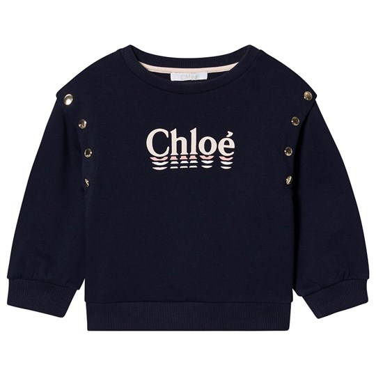 Chloé Navy Branded Sweatshirt with Removable Sleeves 849