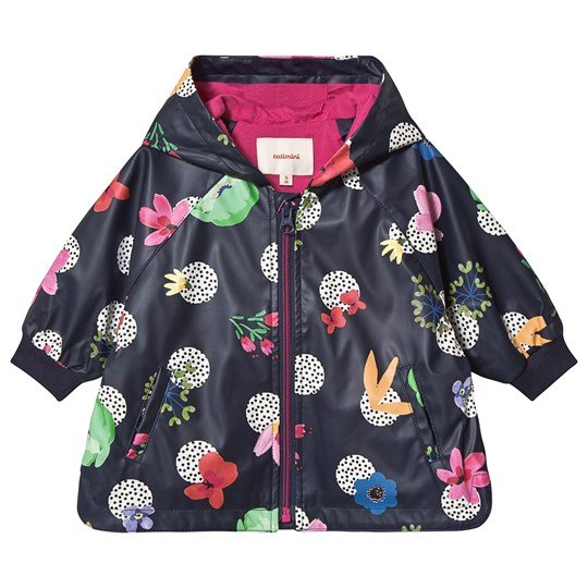 Catimini Polka Dot Raincoat Navy/Floral 88