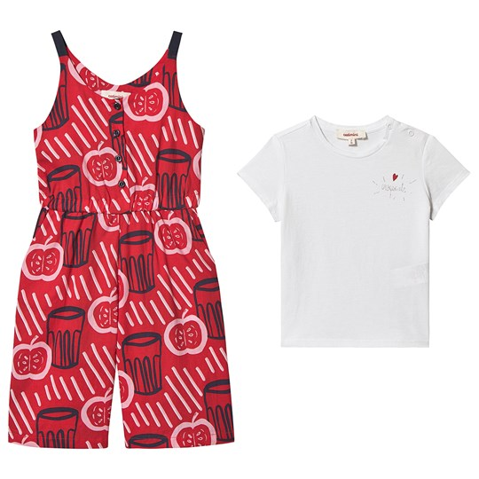 Catimini Apple Print Jumpsuit and Tee Set Red/Navy/White 36