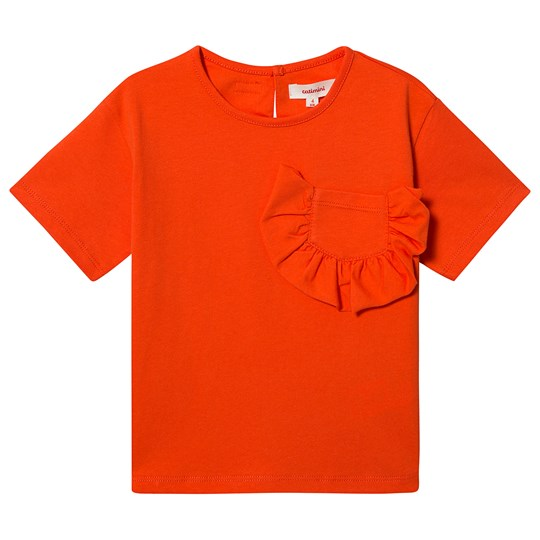 Catimini Ruffle Pocket T-Shirt Orange 77